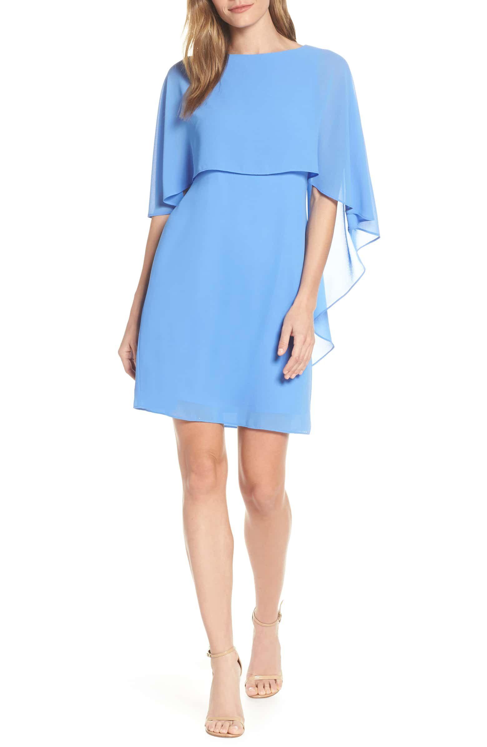 Vince Camuto Chiffon Cape Cocktail Dress Nordstrom Overlay Dress Trendy Cocktail Dresses Sleek Dress [ 2392 x 1560 Pixel ]