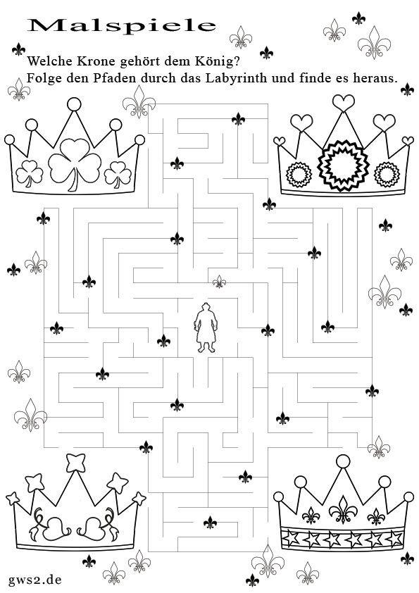 Bild von Malspiel mit Kronen zum Ausmalen | Kids - write exercises ...