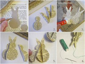 Photo of NaturDekoHerz: Book page rabbits – DIY Easter tags