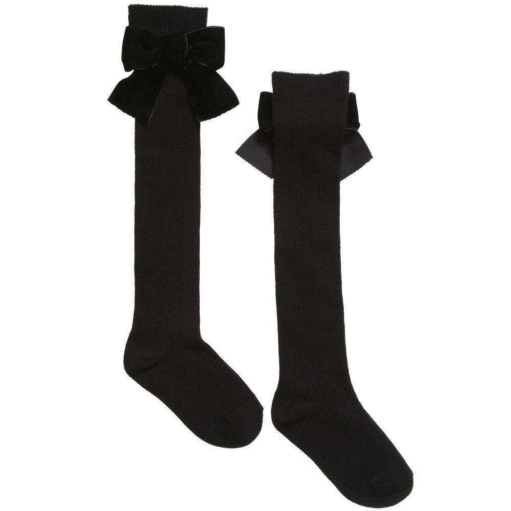 ee124fe5b Lili Gaufrette Girls Black Long Ribbed Socks with Bow at Childrensalon.com