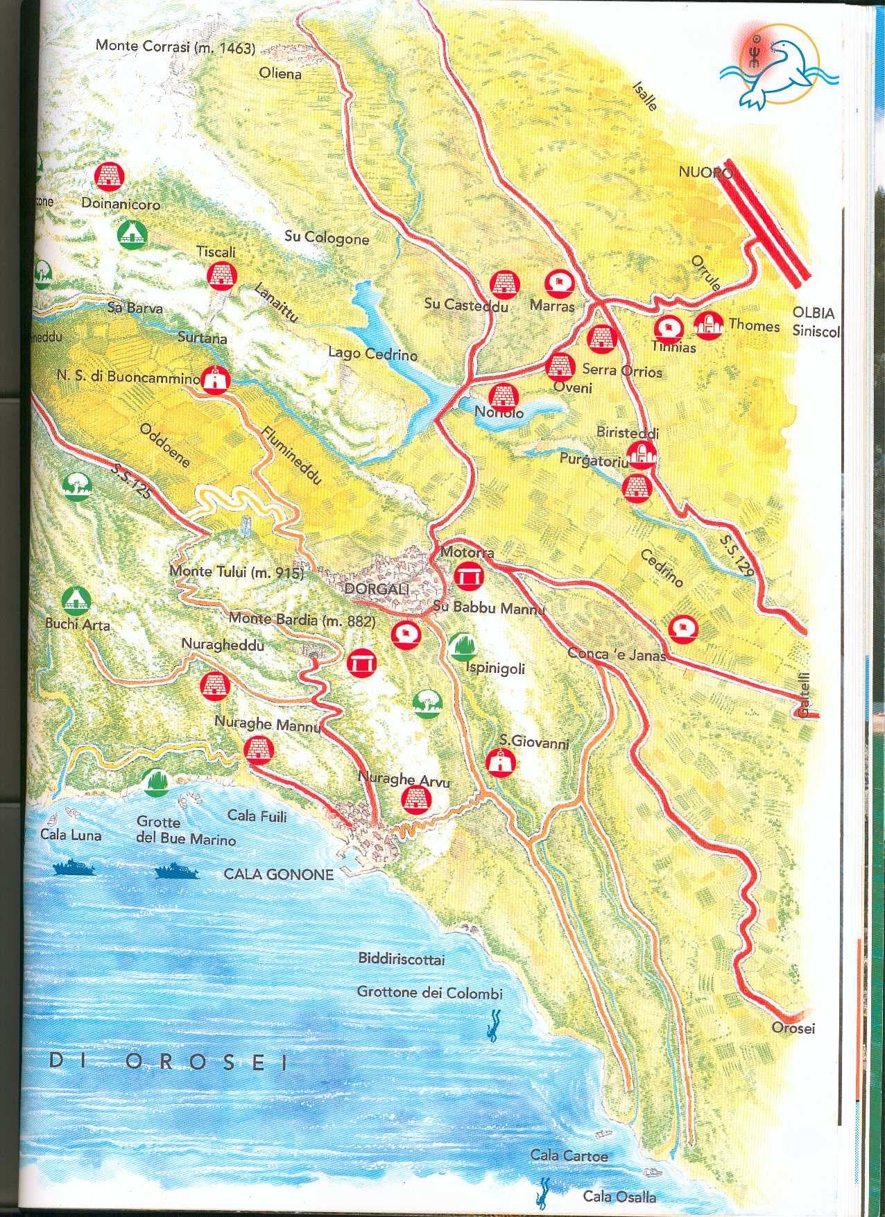 Cala Gonone Tourist Map Cala Gonone Sardinia mappery Vietos