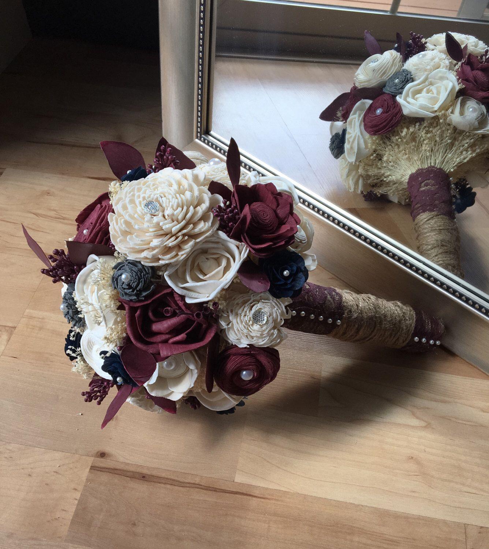 Burgundy wedding bouquet, Fall wedding bouquet, Sola wood