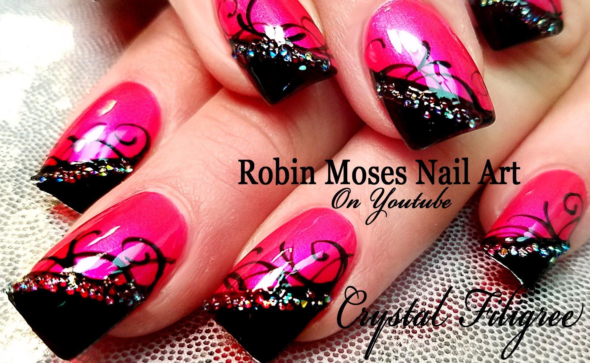 diy easy hot pink nail art design summer nails with