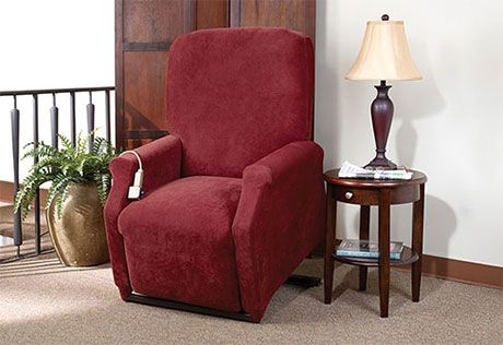 Stretch Pique One Piece Large Lift Recliner Slipcover Form Fit Machine Washable Lift Recliners Recliner Slipcover Slipcovers