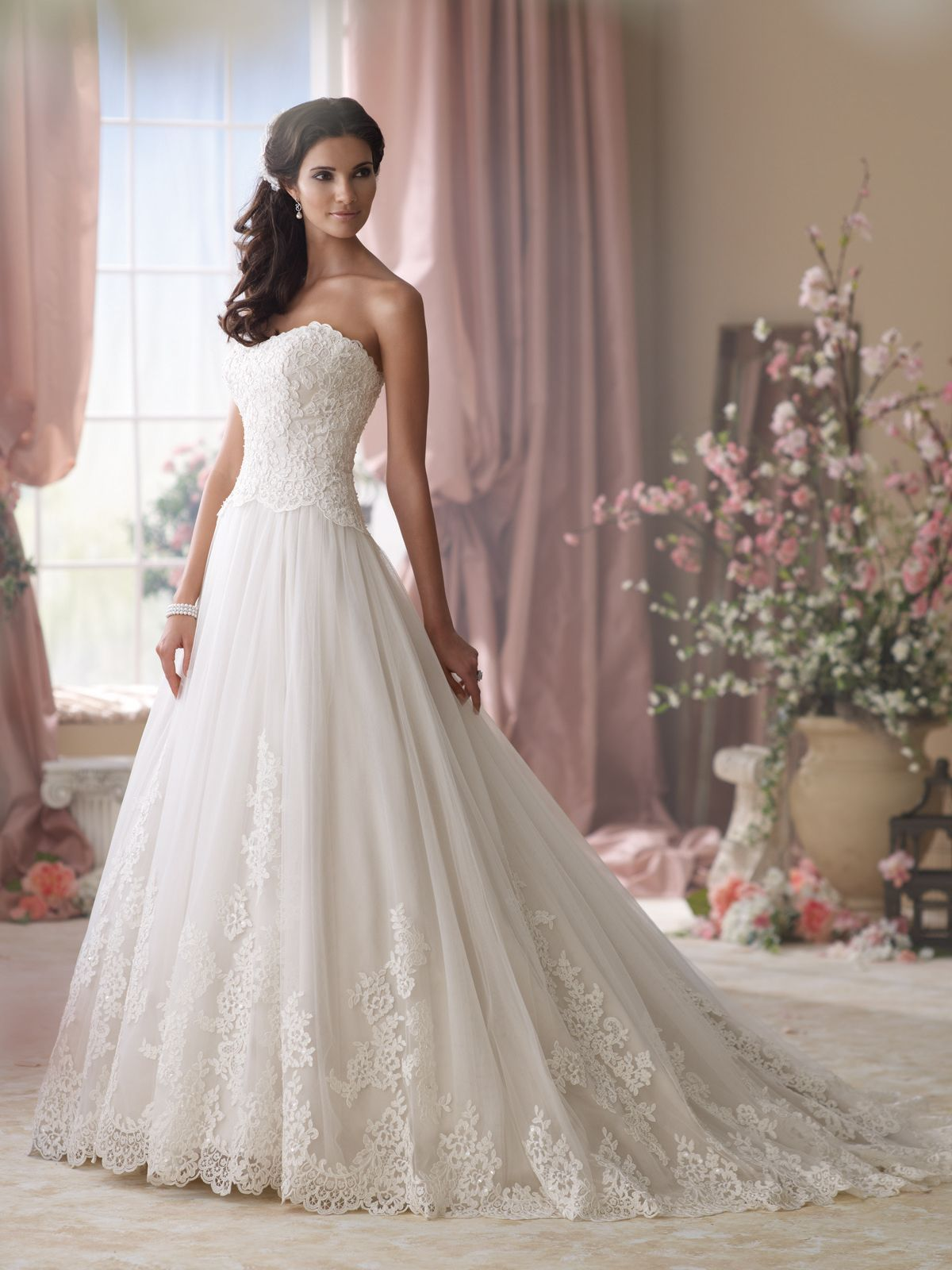 Wedding dresses collection u strapless embroidered lace and
