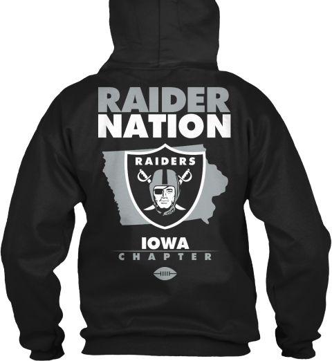 Raider Nation Raiders Iowa Chapter Black T-Shirt Back  71cbbcaa1