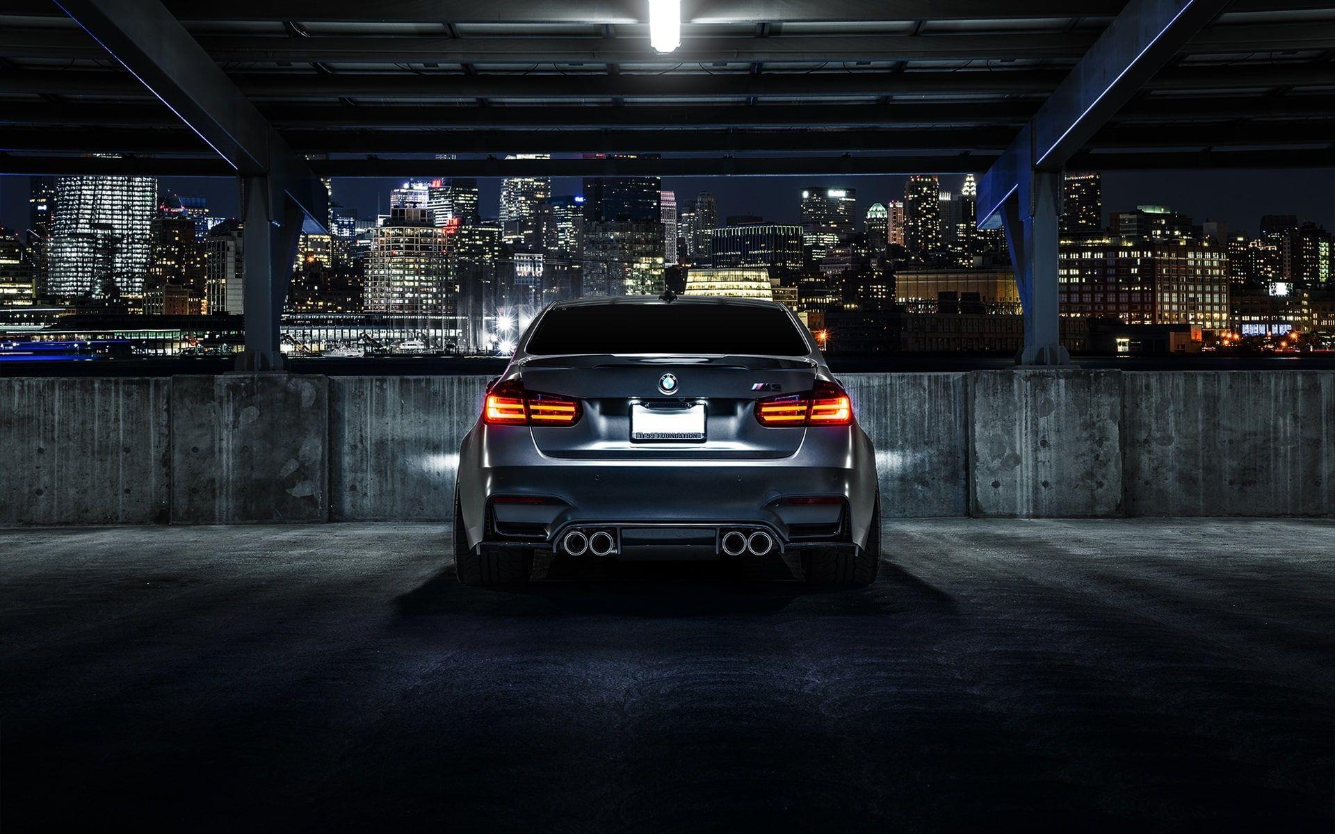 Bmw M3 F80 Matte Black Car Rear View Night City Bmw Matte Black Car Rear View Night City 1080p Wallpaper Hdwallpaper Desktop Black Car Bmw M3 Bmw