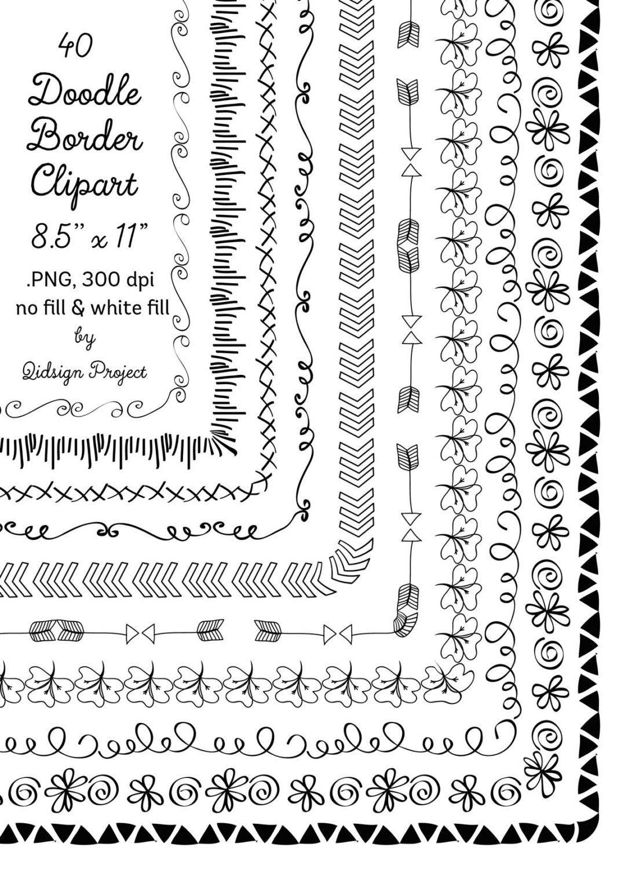 40 Hand Drawn Frames Doodle Borders Digital Frames Clipart