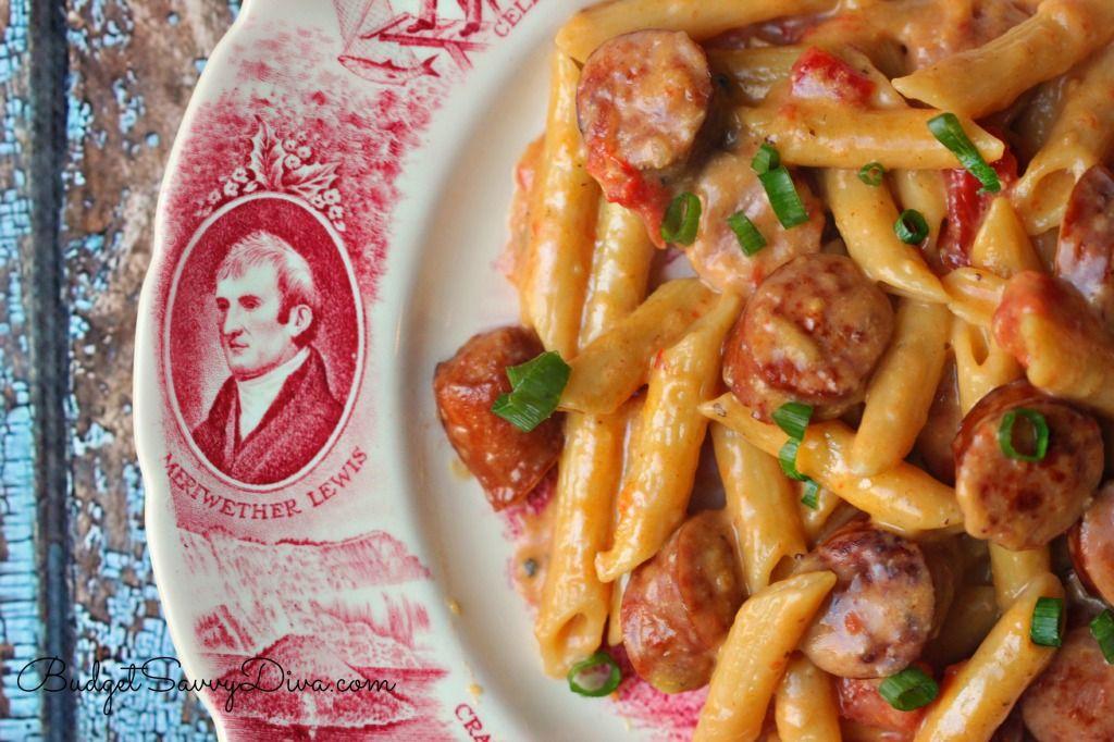 One Pan Cheesy Smoked Sausage Pasta Recipe Budget Savvy Diva Recipe Sausage Pasta Recipes Smoked Sausage Recipes Recipes