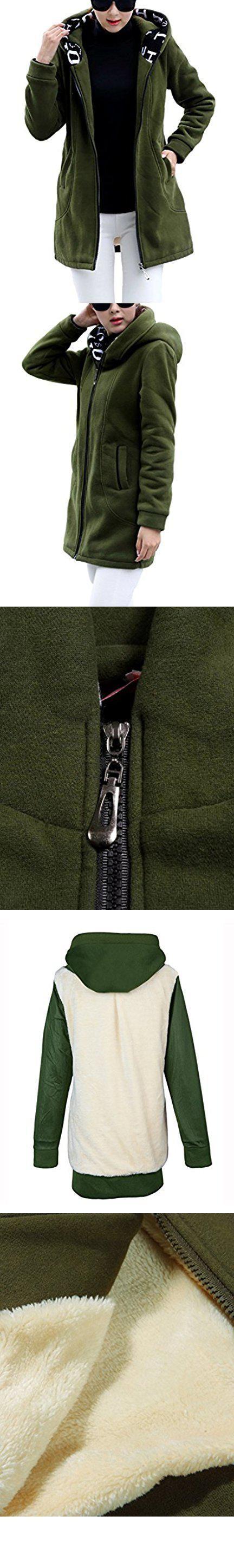 Zanlice womenus thick fleece zip up hoodie thermal jacket coat small