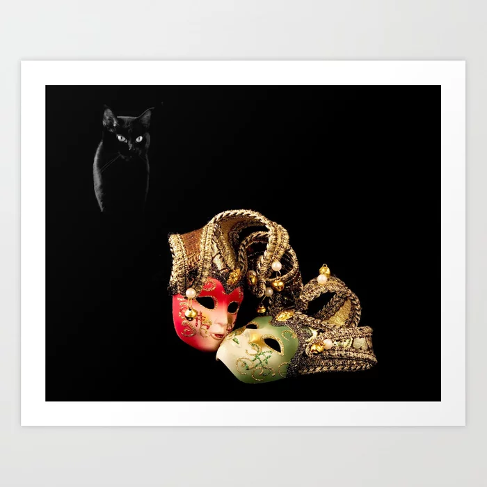 Buy Black cat and love Art Print by alexlyubar. Worldwide shipping available at Society6.com. Just one of millions of high quality products available.