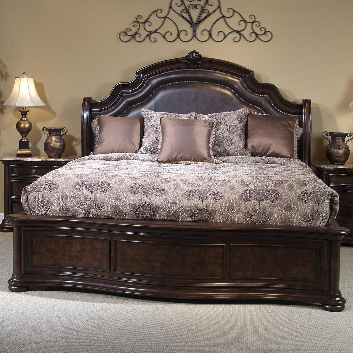 Beautiful King Size Bed Frame Using Brown Leather Headboard And Classy  Pattern Bedding Also Wooden Bedside