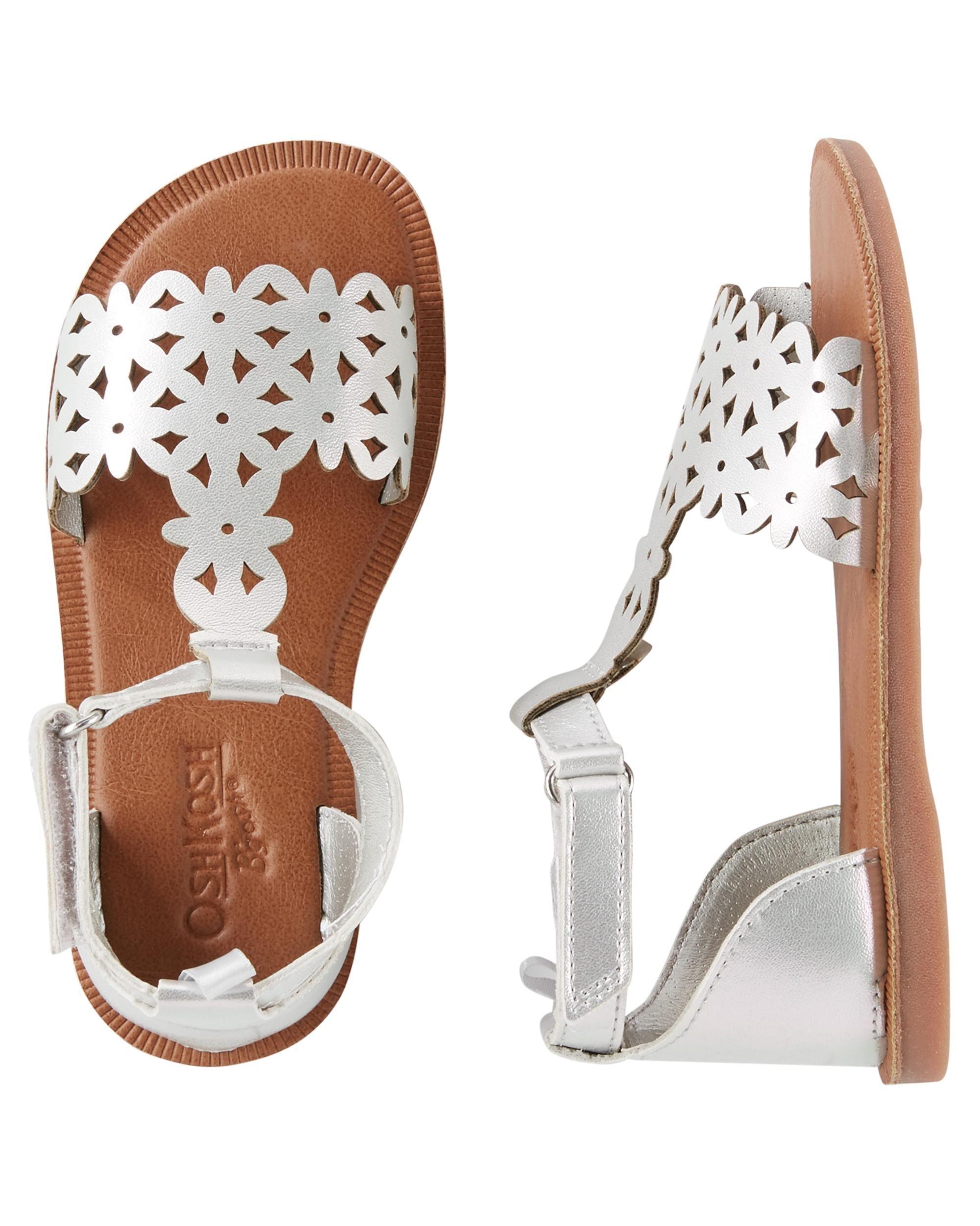 5a326e61 Kid Girl OshKosh SIlver Metallic Sandals | OshKosh.com #Kidsandals  #Kidsandalsgirl Zapatos Para