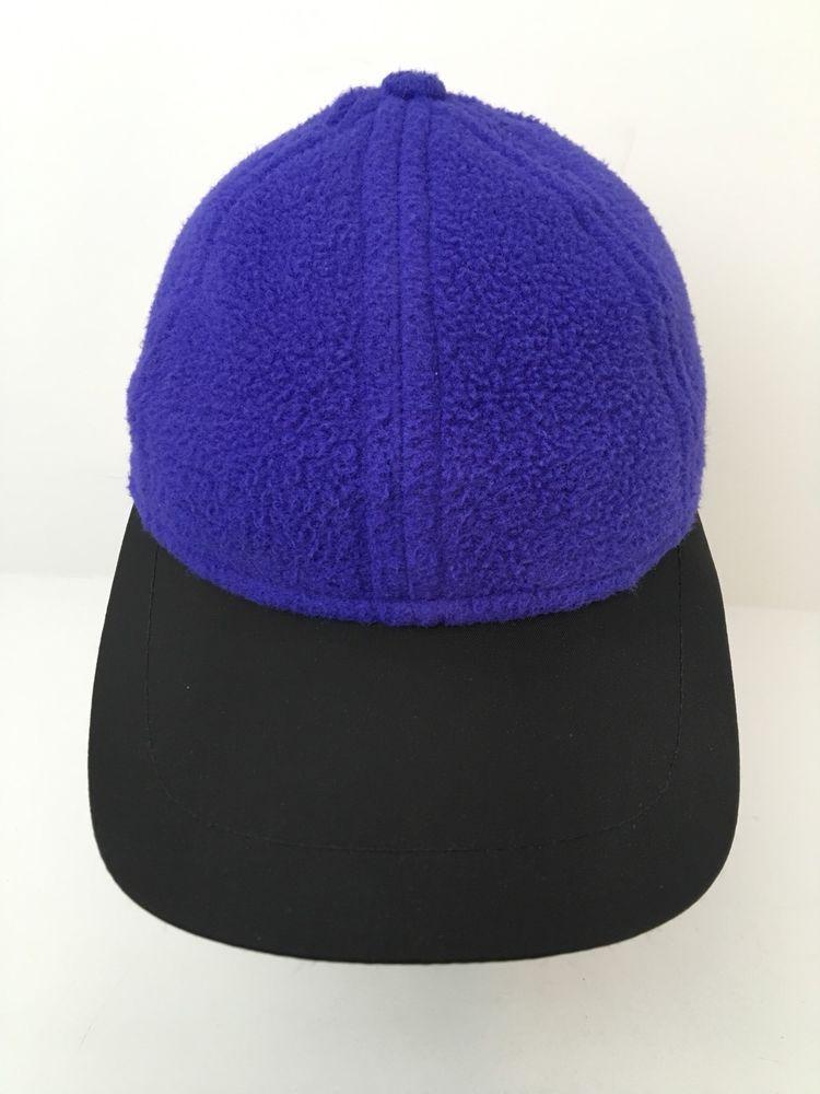 f8e11ab035d Vintage Eddie Bauer Fleece Baseball Hat Blue Strapback Nylon Bill Made In  USA  EddieBauer  BaseballCap