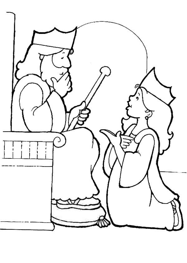king choose esther to be his queen esther coloring page