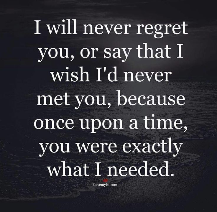 I Will Never Regret You Or Say That I Wish I'd Never Met