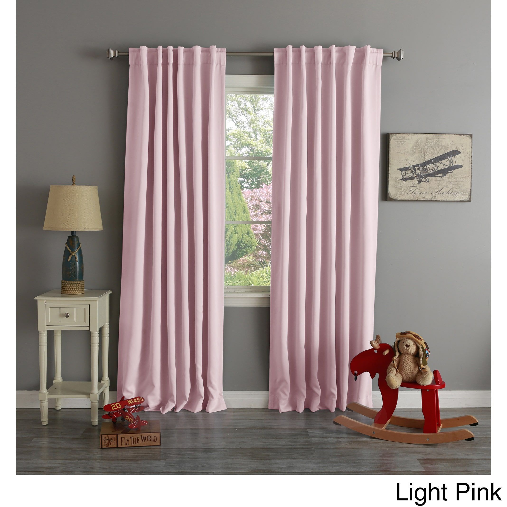 Curtain pair overstock shopping great deals on lights out curtains - Aurora Home Thermal Rod Pocket 96 Inch Blackout Curtain Panel Pair Light Pink