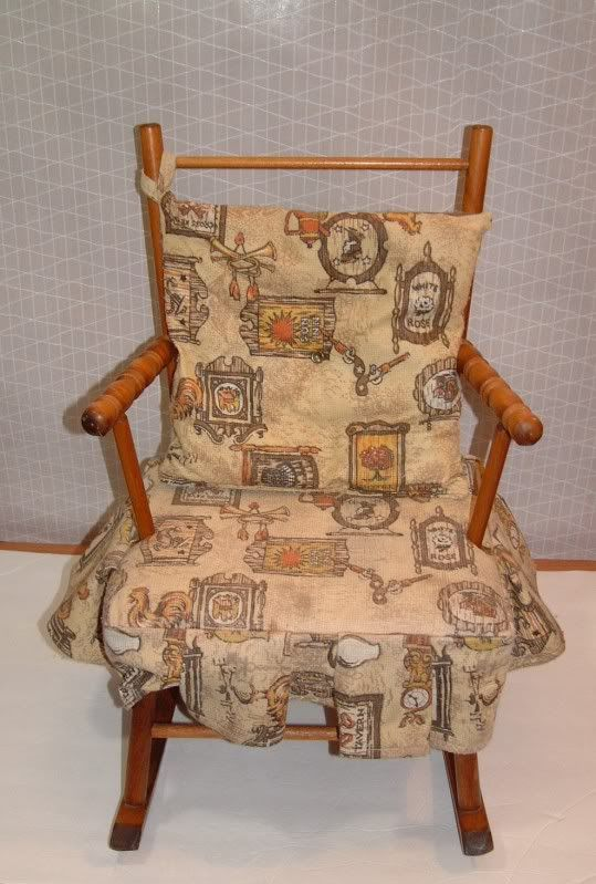 Vintage Childs Wooden Rocking Chair Rocker With Fabric Cushion Have