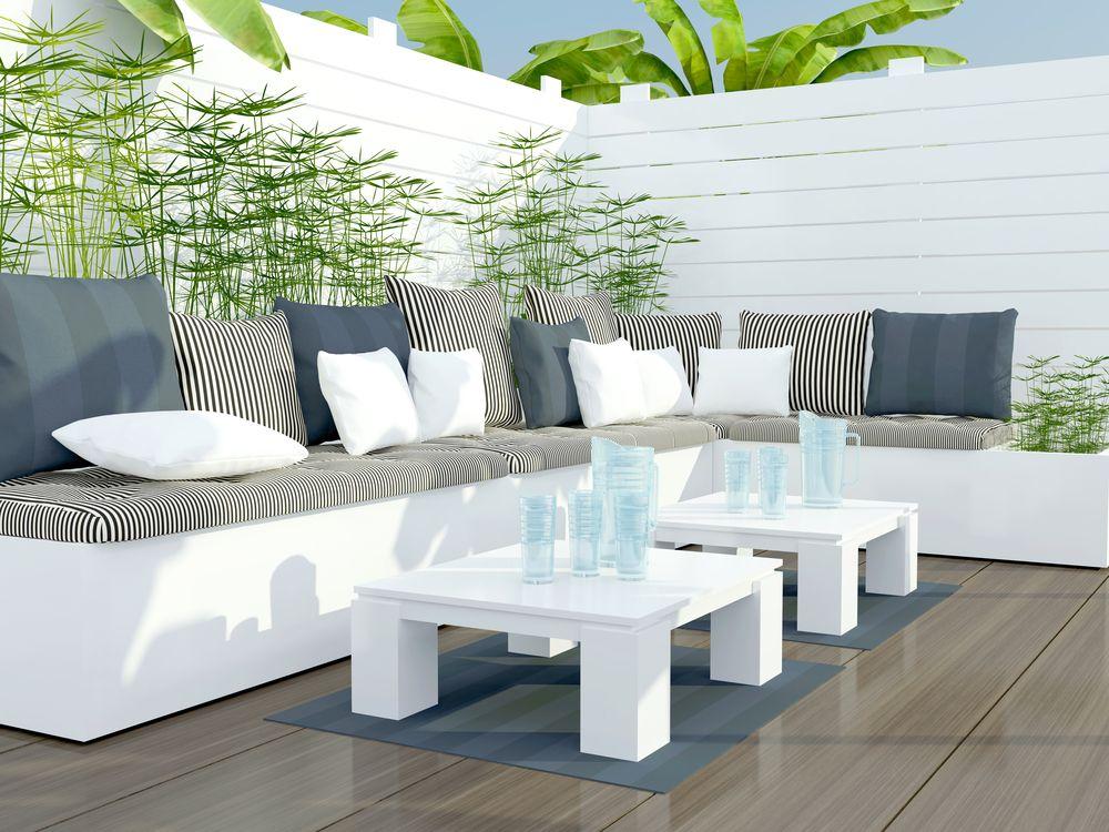 gemütlicher kamin patio bereich garten mit sitzmöbeln | landscape, Terrassen ideen