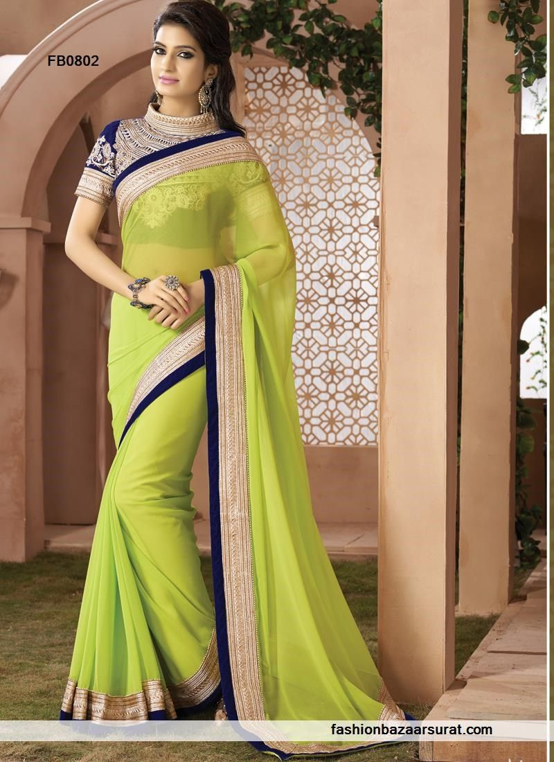 Ideal Parrot Green Party Wear Heavy Work Saree