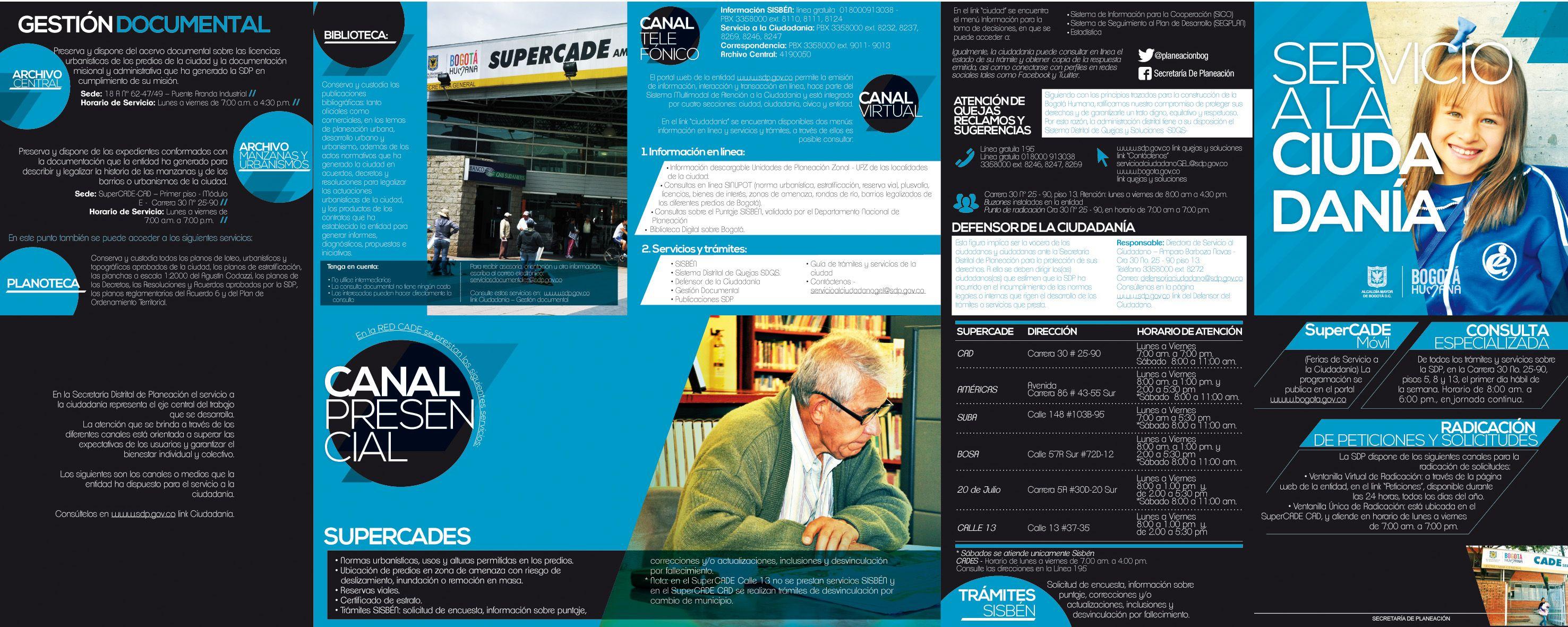 Brochure. Servicio al Ciudadano de la Secretaría de Planeación