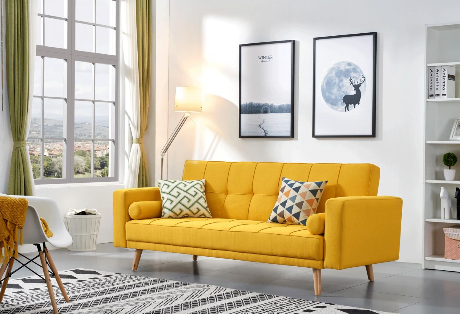 Contemporary Yellow Fabric 3 Seat Sofa Bed Modern Chic Soflex 116 Walmart Com In 2020 Yellow Living Room Living Room Sofa Minimalist Living Room