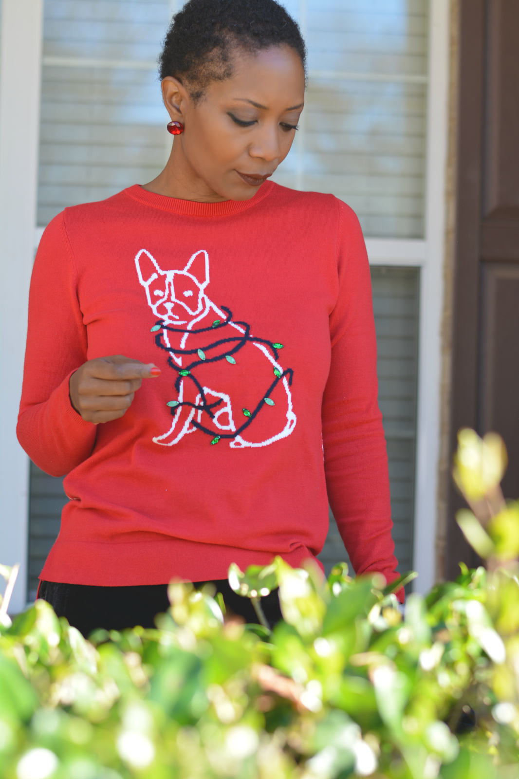 2be2e0a3db8c6 crown & ivy clothing exclusively at belk department stores, #crownandivy  ad, velvet pants, ugly christmas sweater, cute christmas sweater, ...