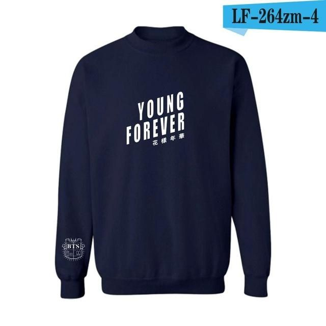 2017 Kpop Bts Hoodies For Men Women Bangtan Boys Album Floral Letter Young Forever Printed Fans Supportive O Neck Sweatshirt 4XL