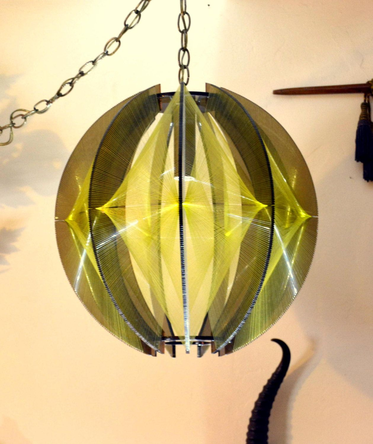 smoked lucite u0026 string art swag lamp golden by