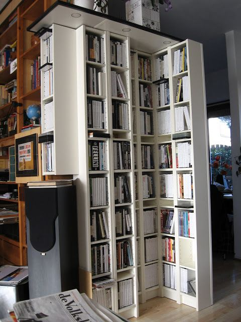 Bookcases made from BENNO DVD towers. Lots of flexibility in this ...