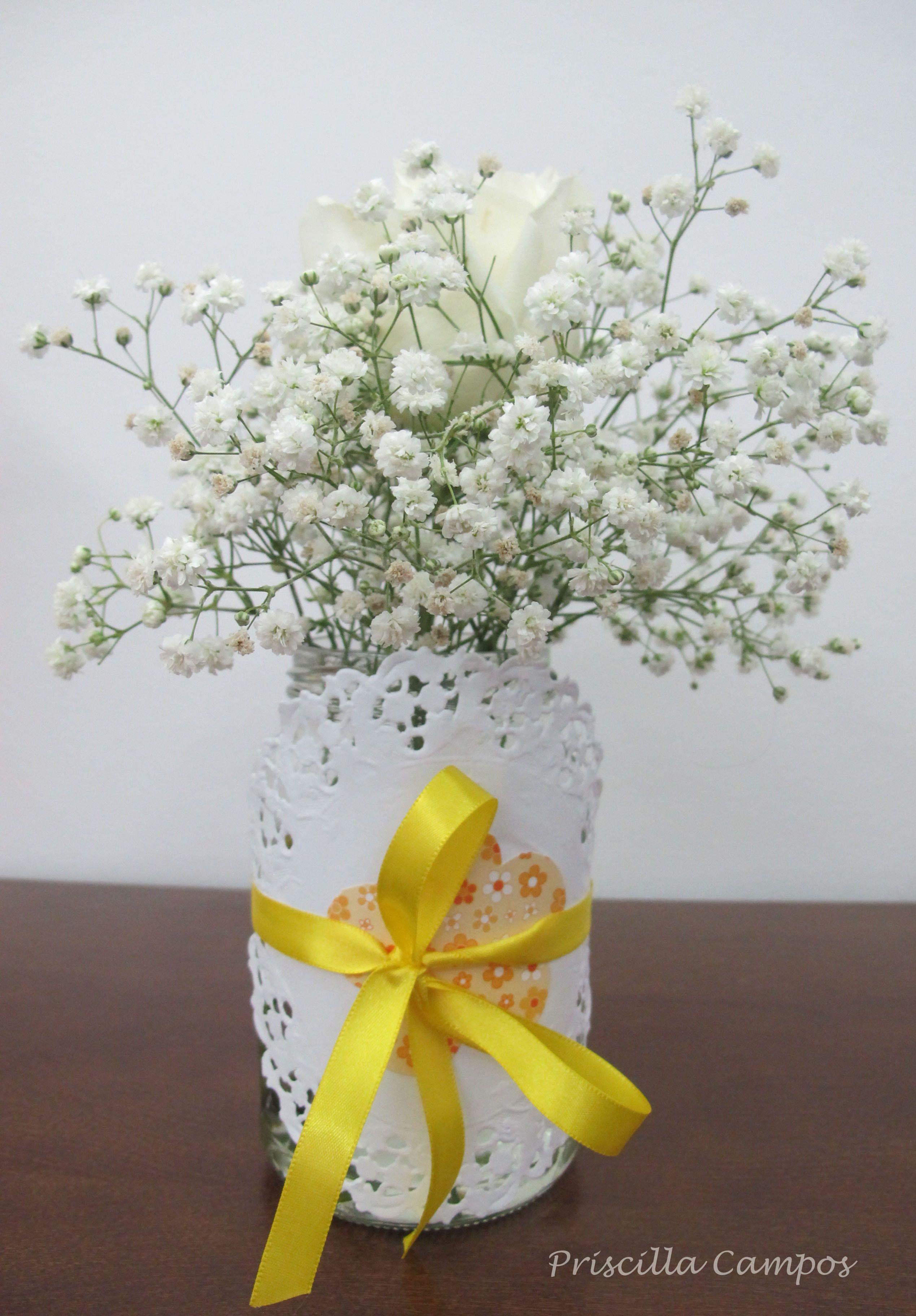 Pin de Priscilla Campos em Arranjos Florais Centro de mesa batizado, Decoraç u00e3o mesa casamento  -> Decoracao Centro De Mesa Batizado
