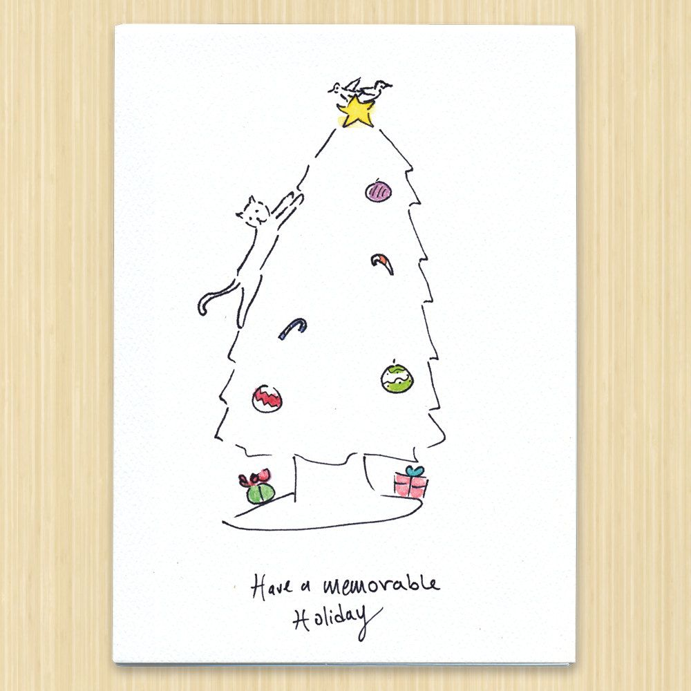 Cat christmas card holiday card have a memorable holiday greeting cat christmas card holiday card have a memorable holiday greeting card hand drawn cards kristyandbryce Images