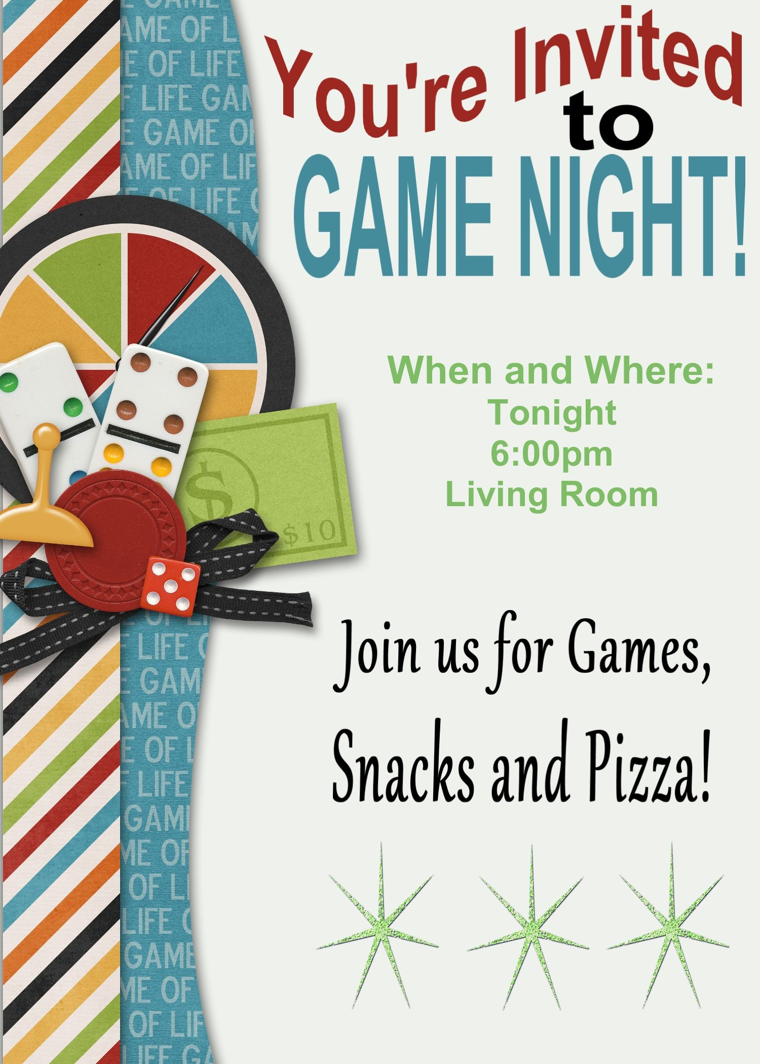 Game Night Printable Invitation And Game Review Game