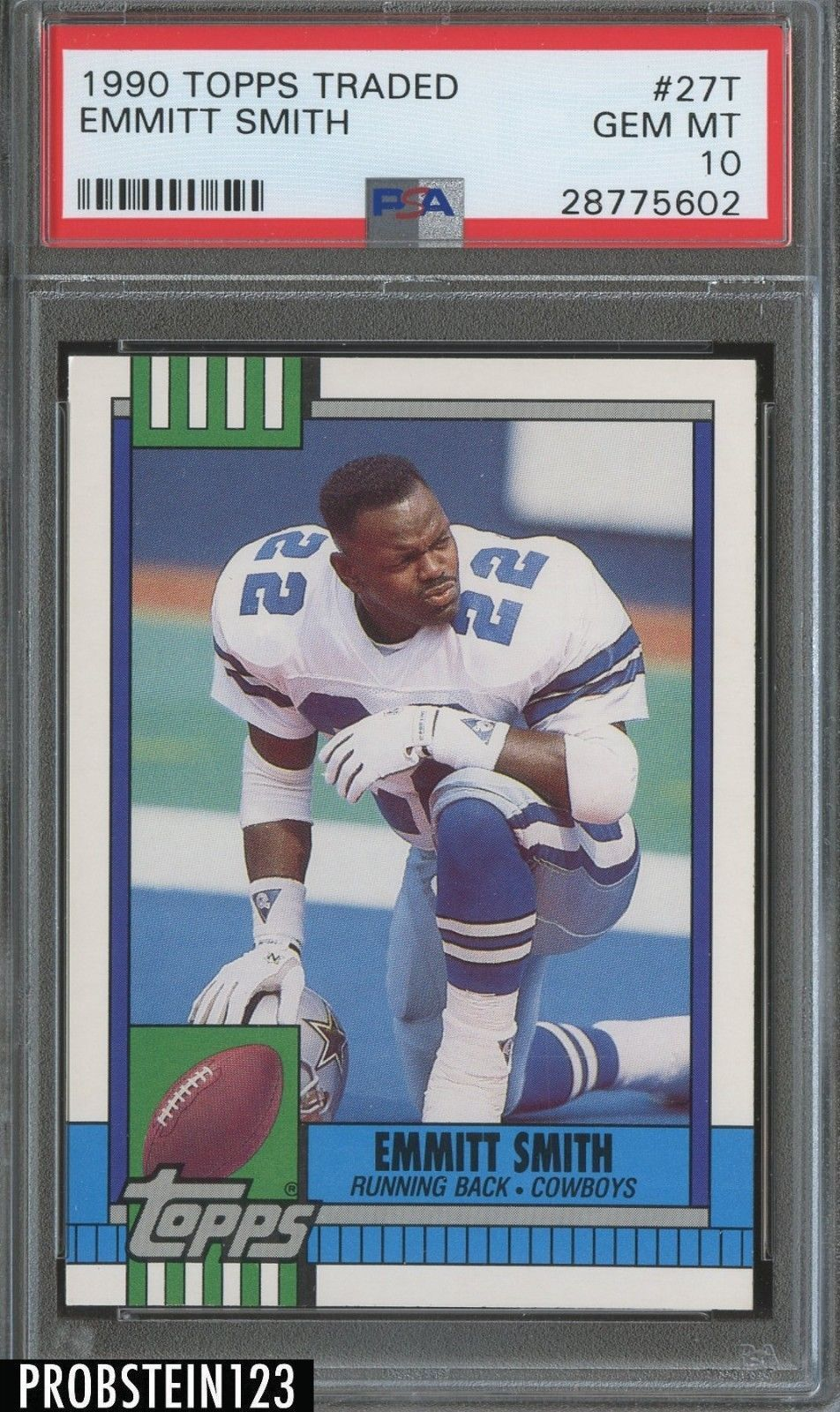 1990 topps traded 27t emmitt smith cowboys rc rookie hof