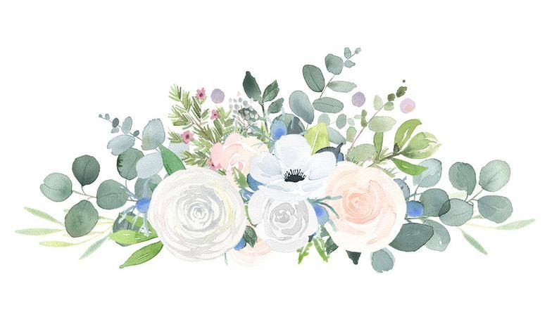 Floral Bouquet Clipart Watercolor Clip Art Flower Png Files With White Roses Thistles And Eucalyptus Leaves Floral Bouquets Floral Watercolor Flower Art