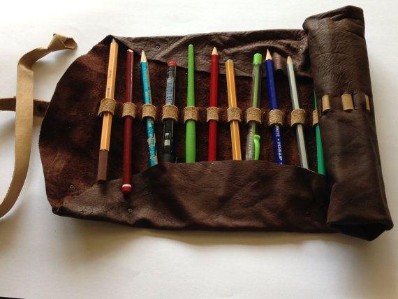 Handmade dark brown leather pencil case artist's by Nebulagalata, $40.00