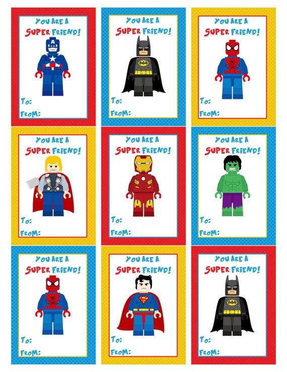 Superhero Valentine S Day Cards Valentine S Day Etsy Superhero Valentines Lego Valentines Boy Valentine Cards