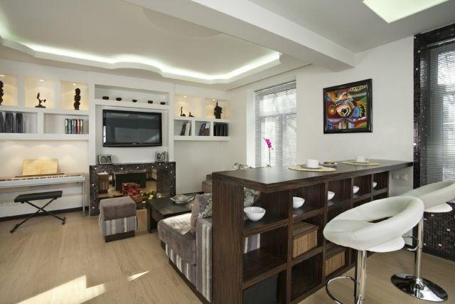 kleines wohnzimmer essbereich modern led streifen decke esstheke ...