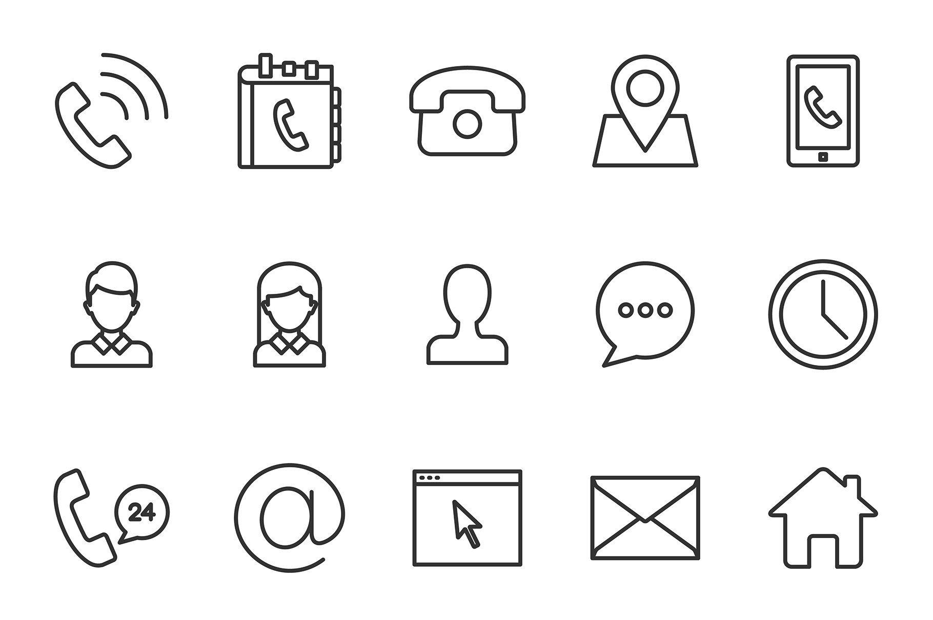 Contacts icons set Иконки, Черные обои