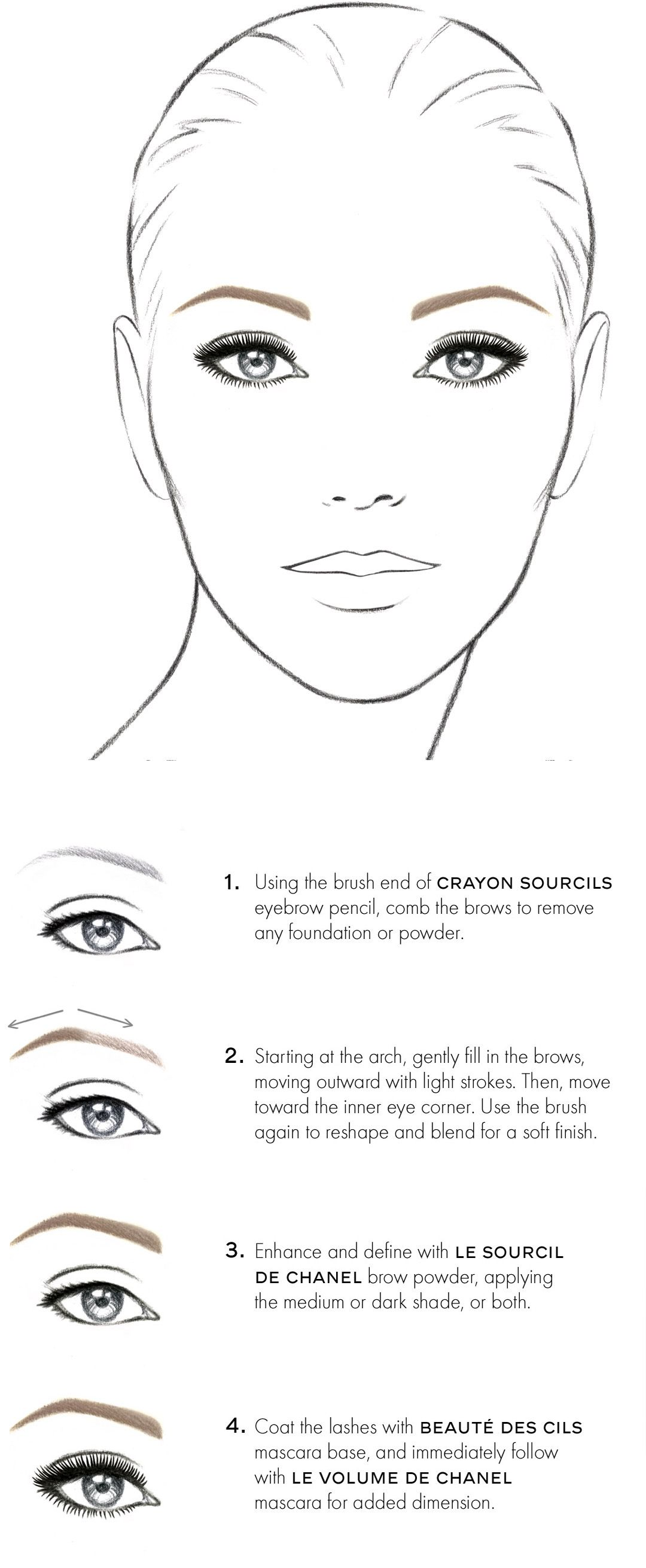 Chanel eyebrow   Красивое   Pinterest   Eyebrow, Face charts and Makeup