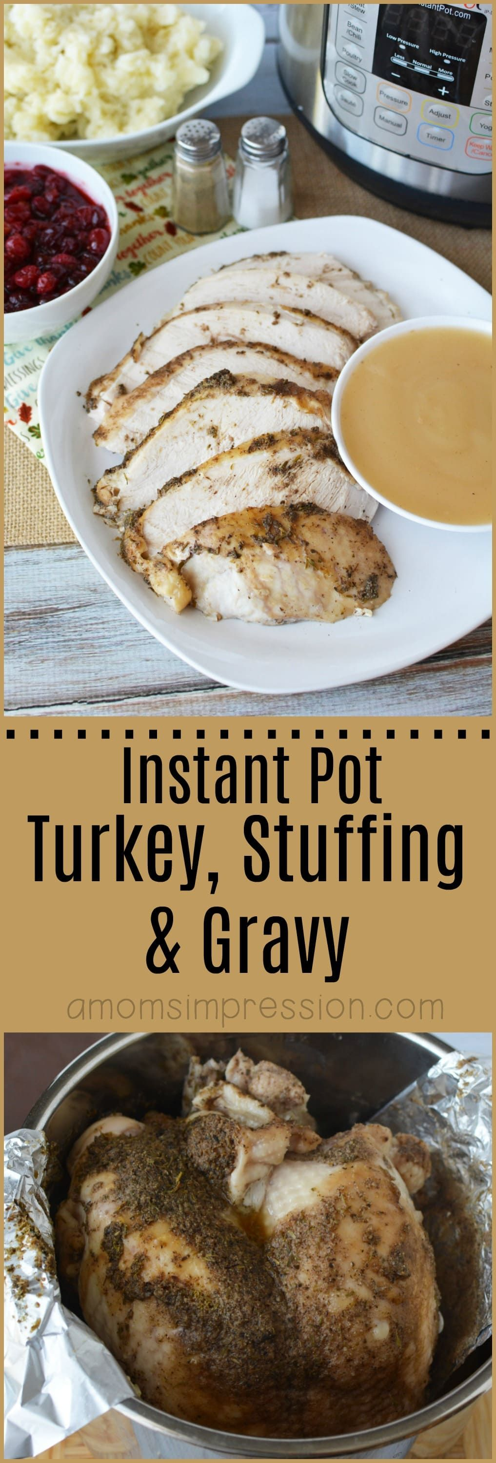 Instant Pot Turkey Breast Recipe with Stuffing and Gravy