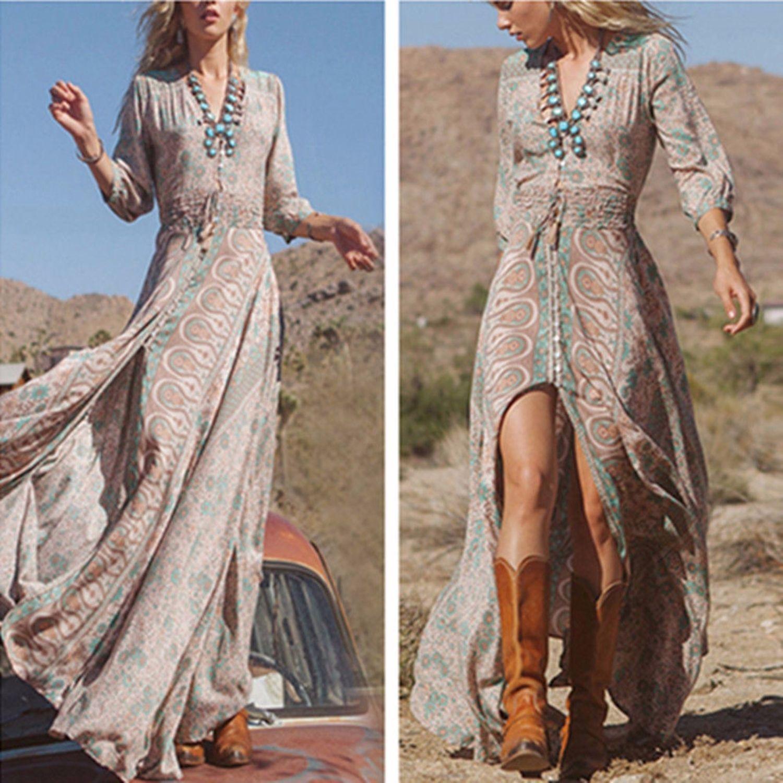 e77bc903ea Women Boho Hippie Gypsy Ethnic V Summer Party Beach Long Maxi Dress Sundress