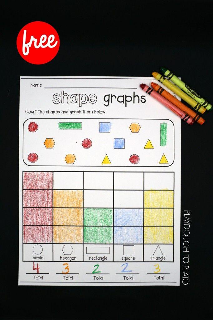 Shape Graphs Playdough To Plato Shapes Preschool Graphing Worksheets Graphing Kindergarten