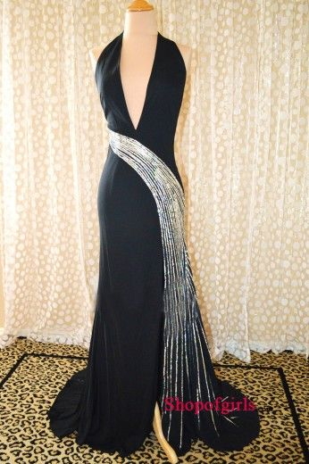 54% off   Black Shinning Halter Deep V-neck Ruffles Ruched Long Chiffon Inexpensive Evening Dresses/