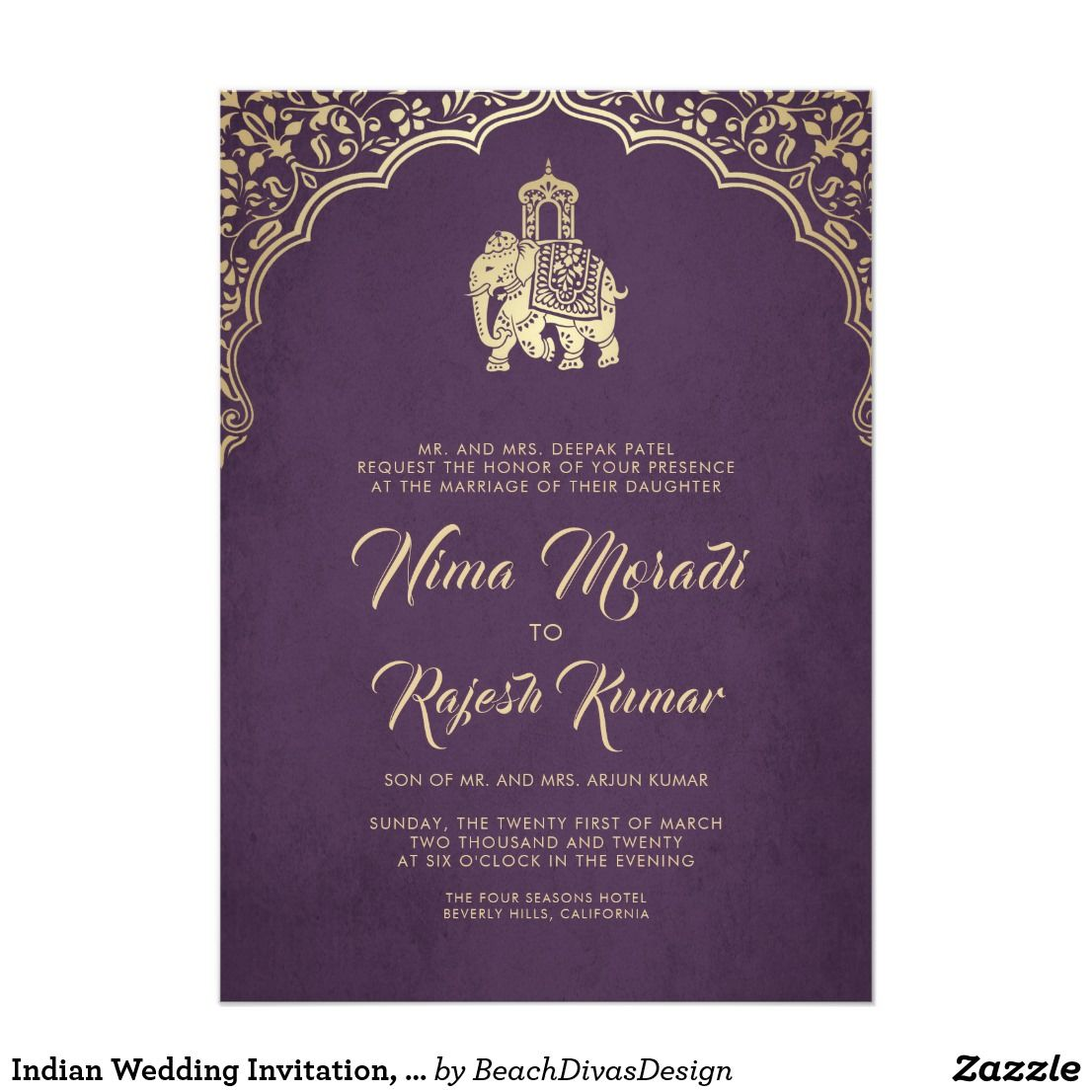 Indian Wedding Invitation Purple Gold Ganesha Invitation