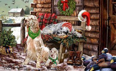 English Setter - Christmas Holiday