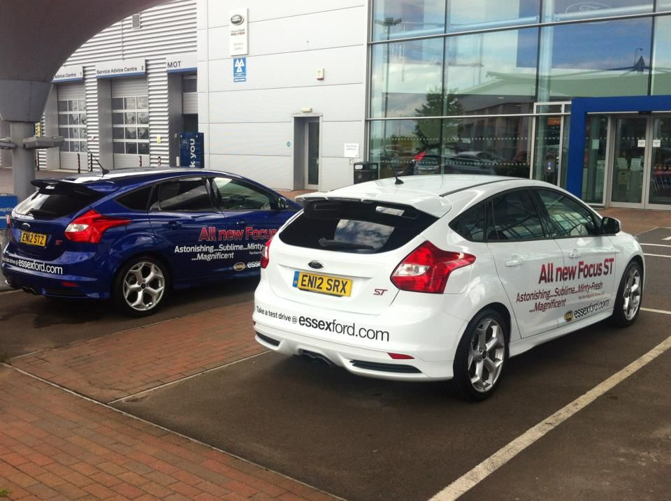 A Blue And A White New Ford Focus St Outside Of Our Showroom In Dunton Essex New Ford Focus Ford Focus St Ford Focus