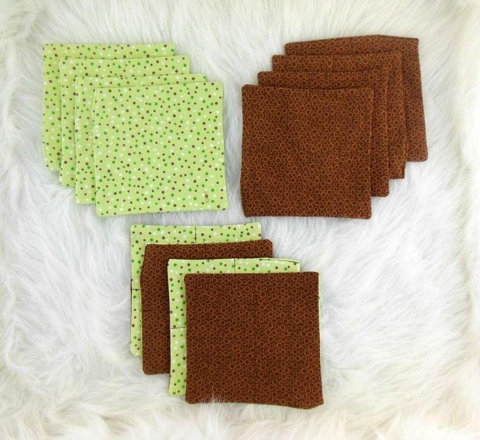 Cloth Wipes, Washcloths, Mini Burp Cloth, Handkerchiefs, Dust Cloths Set of 12 in Dots by HeavenBoundHCA, $12.00 USD