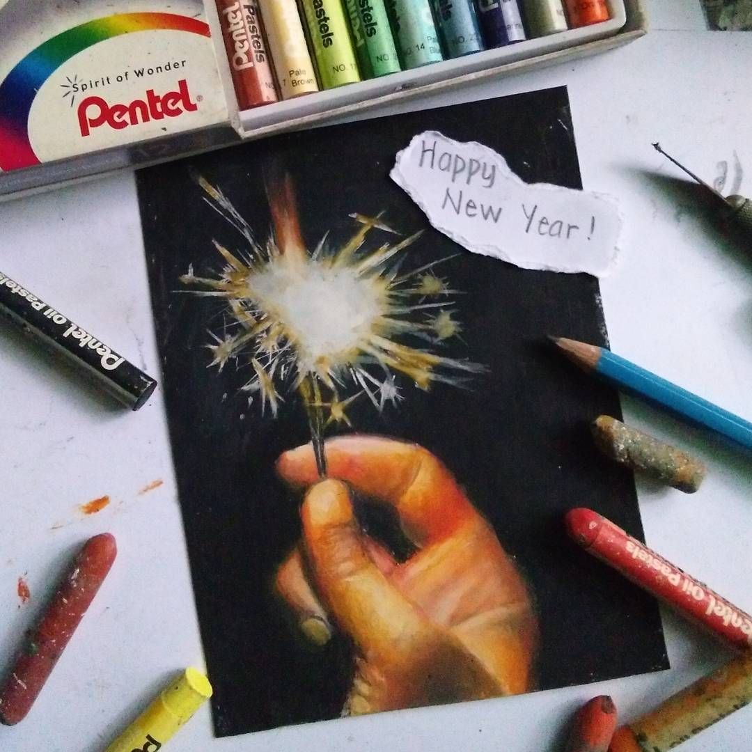 Happy New Year! 🎉🎉 my very last Oil Pastel artwork for