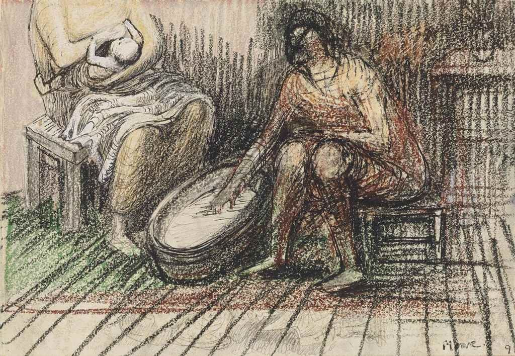 zzzze — Henry Moore  Two Women Bathing a Child, 1946...